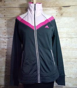 Adidas grey and pink zip up jacket